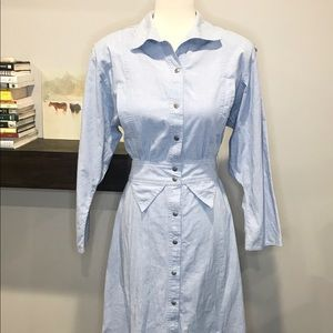 VINTAGE 80s Western Chambray Dress